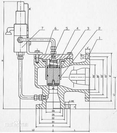 AX46F先导式安全阀结构图